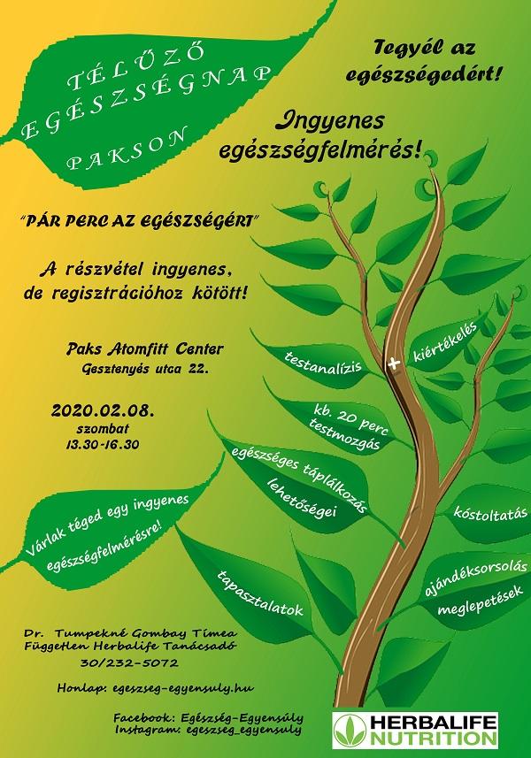 Egészségnap plakát Paksra 2020.02.08
