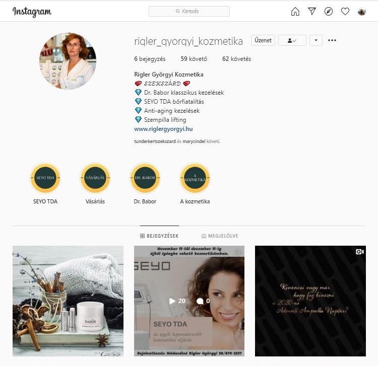 Rigler Györgyi Kozmetika Instagram
